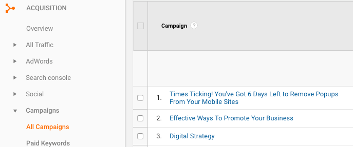 Google Analytics Campaign Data